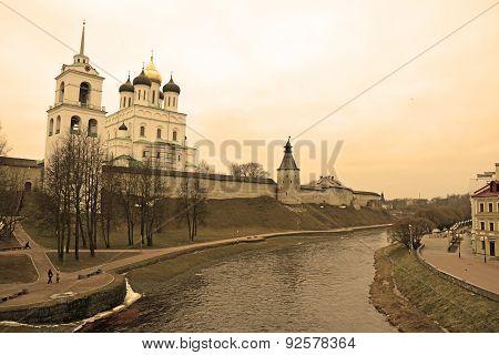 Pskov Krom. View From Pskova River. Sepia Toned