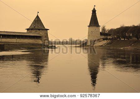 Pskov Kremlin In Sepia Tone. View From Pskova River