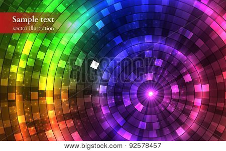 Abstract Colorful Disco Lights. Tunnel. Vector