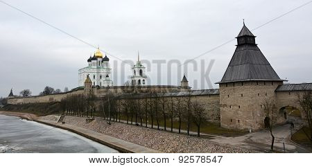 Pskov Kremlin With The Famous Trinity Cathedral