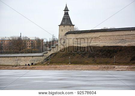 Pskov Krom. View From The River Velikaya. Spring Season