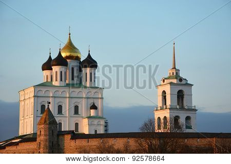Famous Trinity Cathedral At Pskov City At The Sunset