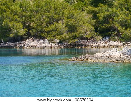 a blue Croatian bay in the Mediterranean