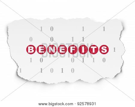 Finance concept: Benefits on Torn Paper background