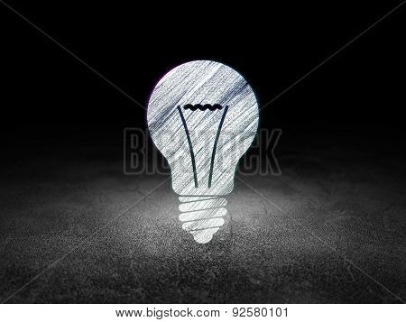 Finance concept: Light Bulb in grunge dark room