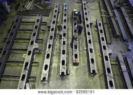 Top View Of Workshop To Produce Steel Construction Beams.