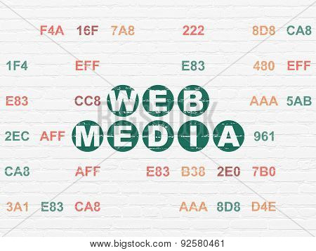 Web development concept: Web Media on wall background