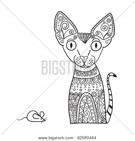 Hand Drawn Canadian Sphinx Vector Illustration. African, Indian, Totem, Tattoo Design. It May Be Use