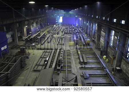 Production Steel Construction Beams In Plant Metal Structures, Production Workshop.