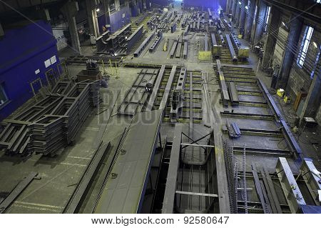 Assembly Of Metal Structures In Manufacturing Shop Floor, Industrial Steels.