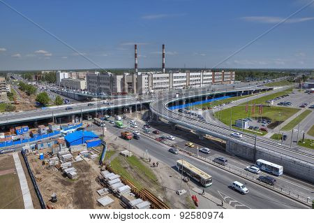 Top View Of Unfinished Construction Viaduct Transportation, Saint Petersburg, Russia.