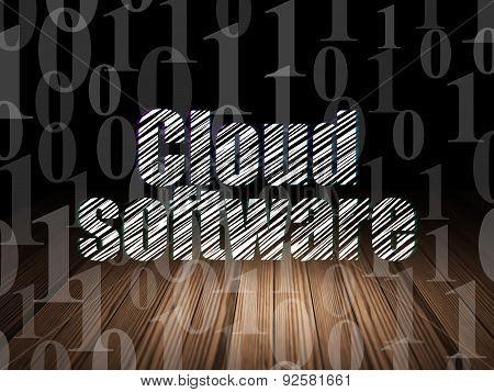 Cloud computing concept: Cloud Software in grunge dark room