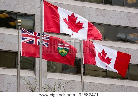 Flag of Ontario and Flag of Canada Flying Together