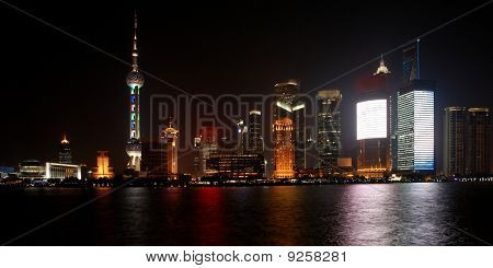 Pudong in Shanghai at night