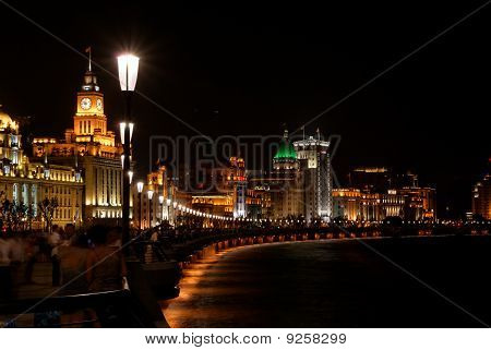 The historic Bund in Shanghai at night