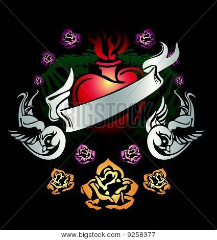 swallow and rose heart emblem