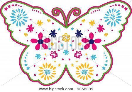 butterfly flower outline design