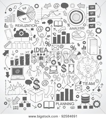 Business background is doodles icons on the topic of technology and business