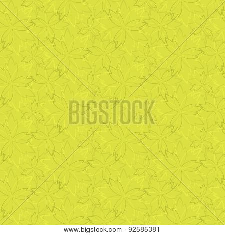 green Seamless Wallpaper With Floral Pattern