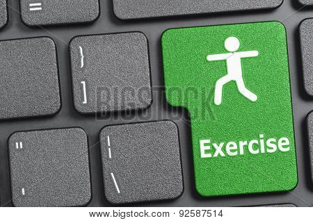 Green exercise key on keyboard