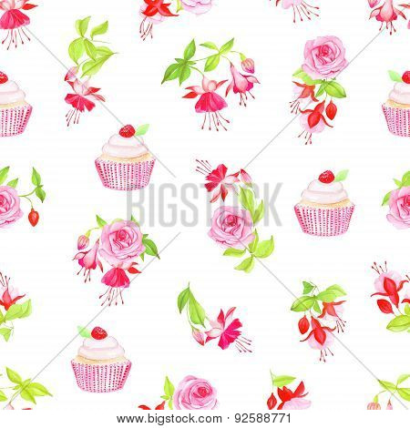 Blooming Fuchsia, Cupcakes And Roses Seamless Vector Print