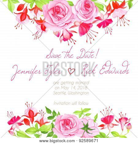 Delicate Fuchsia, Roses Floral Design Frame Vector Element