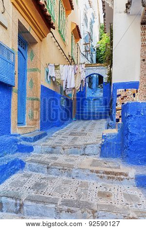 Picturesque street in Chefchaouen, Morocco.