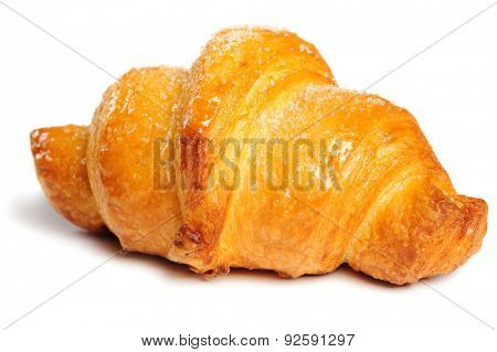 fresh just baked crunchy croissant on white background, isolated