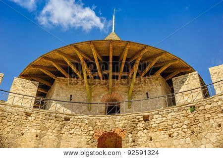 Architectural details of medieval fort in Soroca, Republic of Moldova. Fort  built in 1499 by Moldavian Prince Stephen the Great. Has been renovated in 2015