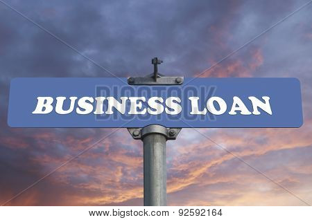 Business loan road sign