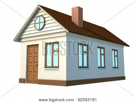 White house with brown roof