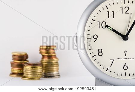 time is money with a clock and money