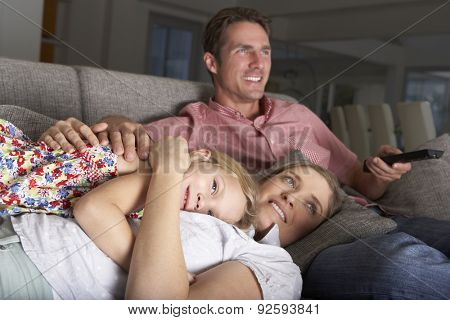 Family On Sofa Watching TV