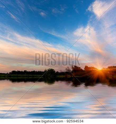 Scene with evening sky over lake water surface