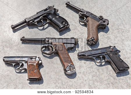 Different Old Combat Pistols