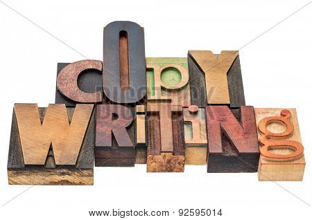 copywriting word  - isolated text in mixed letterpress wood type printing blocks