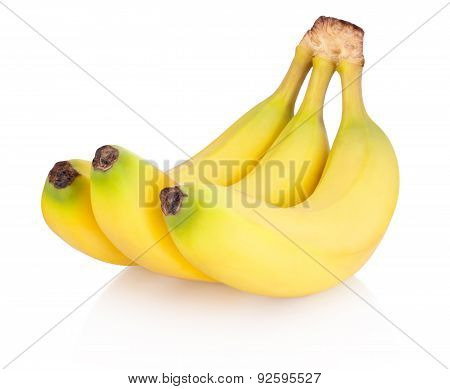 ..three Of Bananas Isolated On White Background