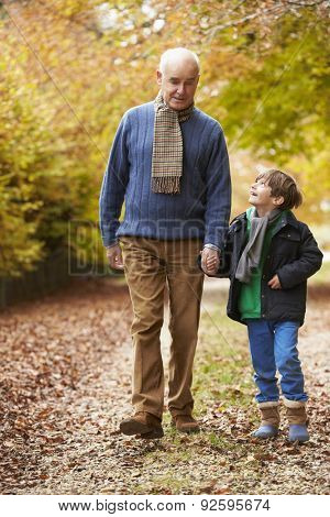 Grandfather And Grandson Walking Along Autumn Path