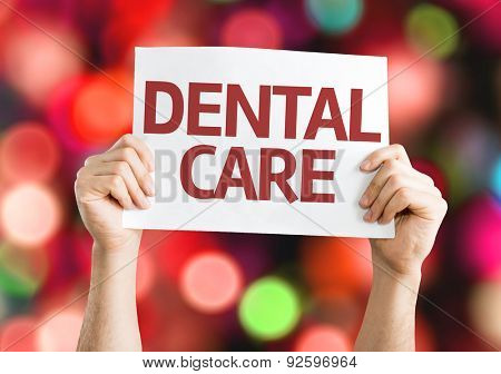 Dental Care card with bokeh background