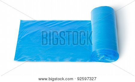 Roll Of Blue Plastic Garbage Bags Top View