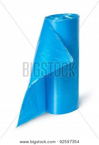 Vertical Roll Of Blue Plastic Garbage Bags