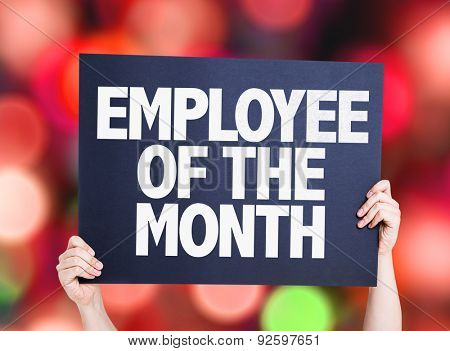 Employee of the Month card with bokeh background
