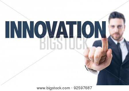 Business man pointing the text: Innovation