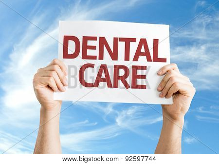 Dental Care card with sky background