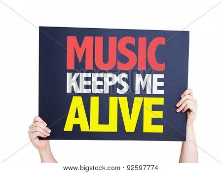 Music Keeps Me Alive card isolated on white