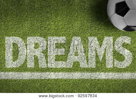 Soccer field with the text: Dreams