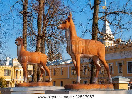 Vintage park sculptures