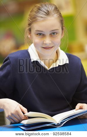 Female Elementary School Pupil Reading Book In Classroom