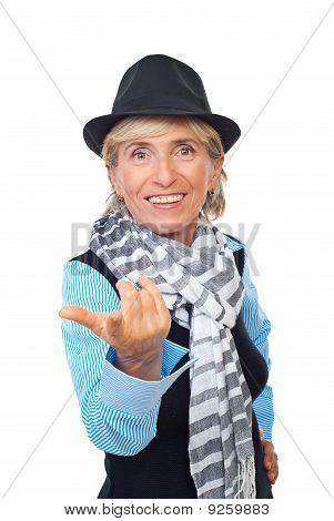 Modern Senior Woman Invites You