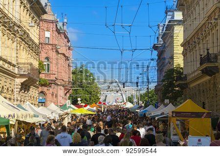 Crowd In The Bridge Fair In Szeged